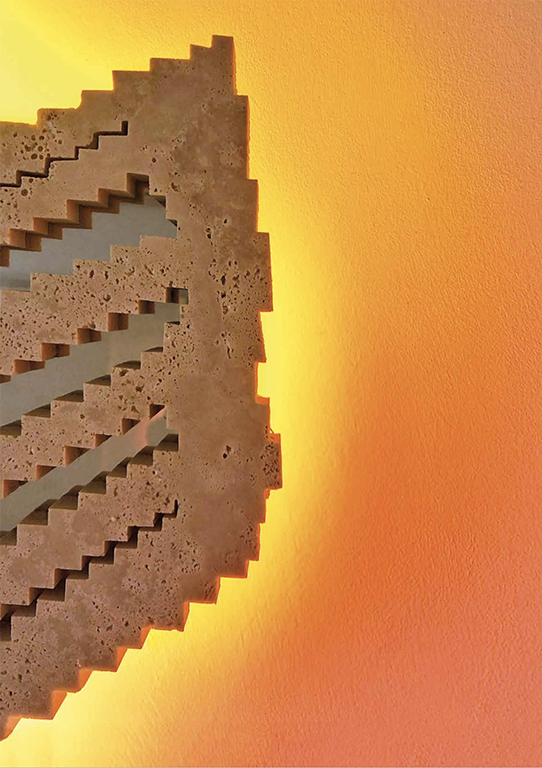 ARCHEOLOGY, 2020 Travertino, acciaio, neon 90x95x12 cm Michele Chiossi scultura arte contemporanea scultore zigzag colore alba tramonto sunset yellow orange specchio riflesso mirror giallo arancio