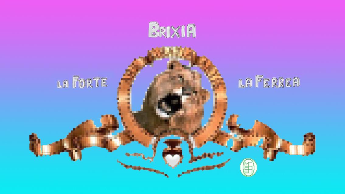 Michele Chiossi Brixia Alla Vittoria, 2020 smalti su poliestere dipinto quadro zigzag pixel videogame Metro Goldwyn Maier Brescia Covid19 asta charity
