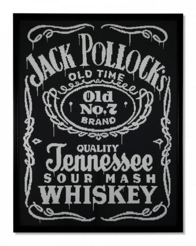Michele Chiossi JACK'S LIFE, 2006  PVC adesivo su laminato tributo Jackson Pollock dripping zigzag whisky Jack Daniel