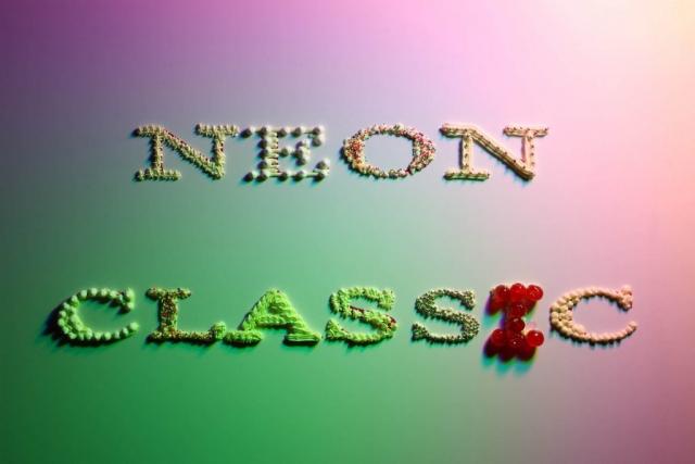 Michele Chiossi Neon Classic patisserie, 2008  stampa fotografica canditi zuccherini confetteria confetti panna ciliegina fotografia