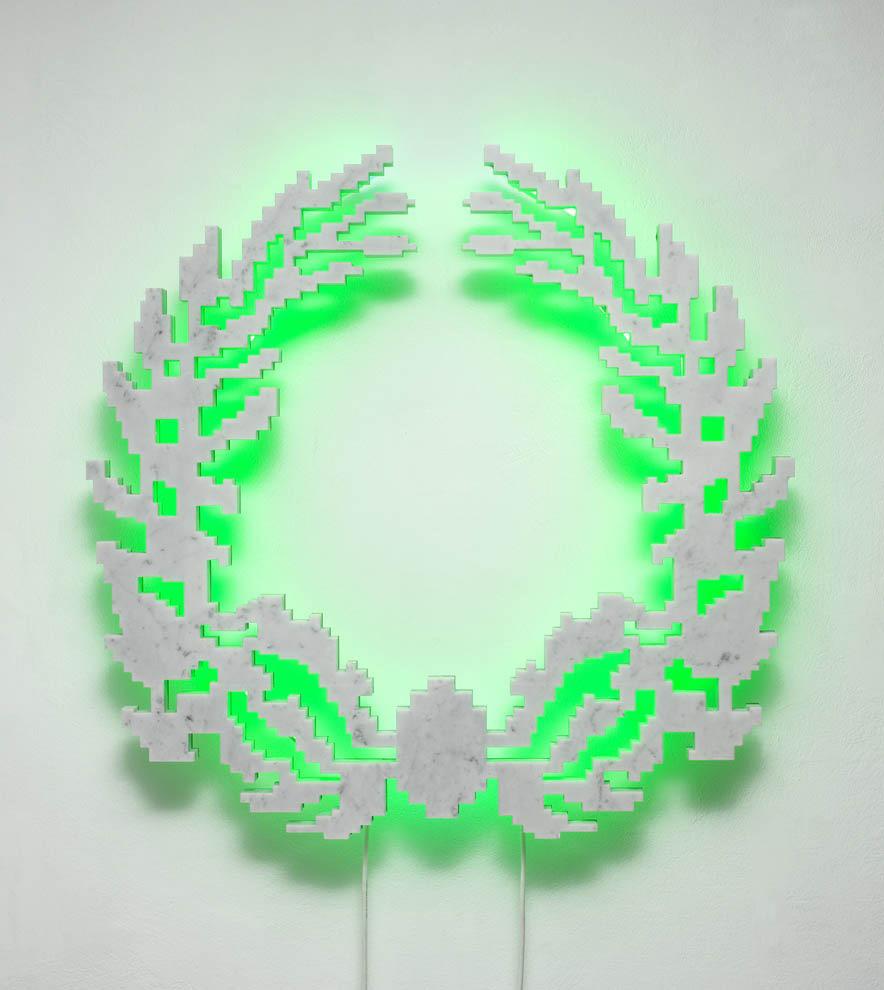 Michele Chiossi Neon-Classic (Mini Cooper vintage), 2007  marmo statuario, acciaio, neon corona alloro imperatore poeta eternità classicità zigzag scultura retroilluminazione verde