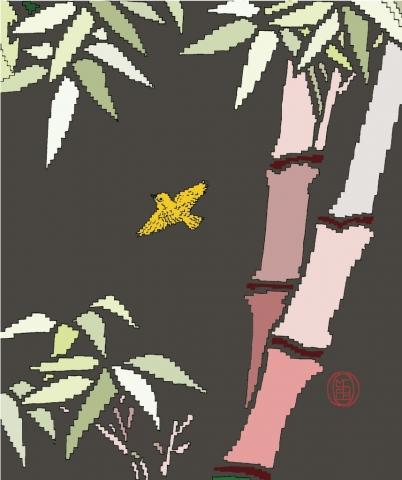 Michele Chiossi Destination Sushi, 2003  smalti, poliestere disegno dipinto quadro zigzag bamboo Giappone Oriente