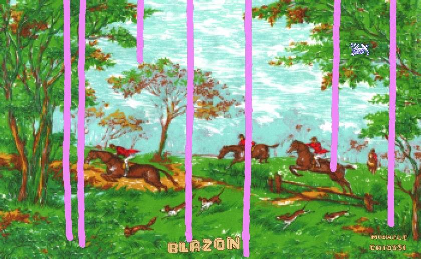 Michele Chiossi BLAZON, 2004  smalti, poliestere quadro dipinto zigzag pixel caccia alla volpe Nestlè