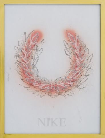 Michele Chiossi NIKE, 2008 marmo statuario, spray, pigmento d'argento, pennarello, PVC, ottone d'orato disegno corona alloro imperatore eternità zigzag