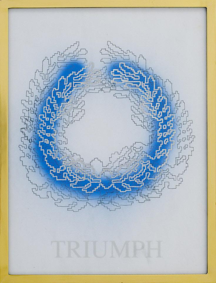 Michele Chiossi TRIUMPH, 2008 marmo statuario, spray, pigmento d'argento, pennarello, PVC, ottone d'orato disegno corona alloro imperatore eternità zigzag
