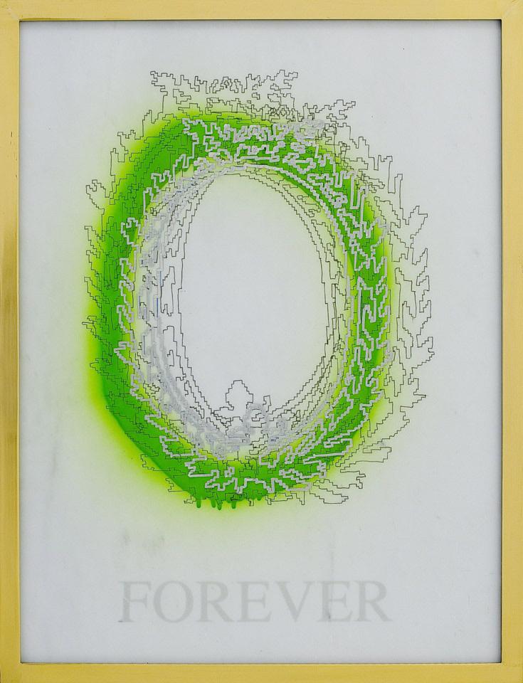 Michele Chiossi FOREVER, 2008 marmo statuario, spray, pigmento d'argento, pennarello, PVC, ottone d'orato disegno corona alloro imperatore eternità zigzag