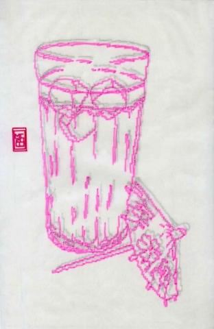 Michele Chiossi Happy Hour, 2000 evidenziatore, pigmenti d'argento, carta da lucido disegno zigzag pixel videogame cocktail Negroni tumbler sfocato ebbrezza