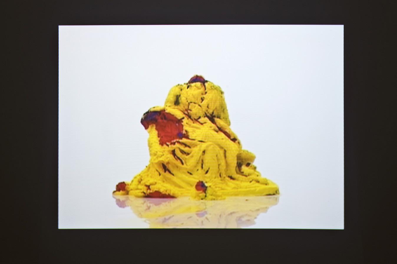 Michele Chiossi THEORY OF COLORS,  New York 1996-Milan 2009 Format DVD video Pietà di Michelangelo gelato Teoria del colore Goethe dissolvenza forma astrazione discioglimento Madonna Gesù scultura