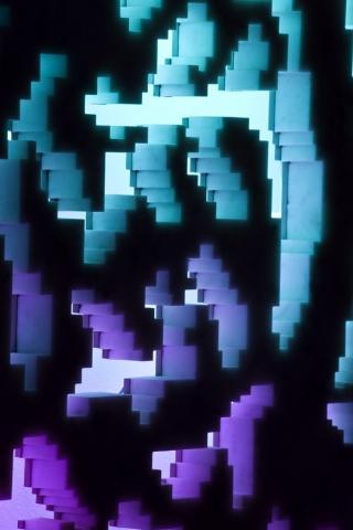 Michele Chiossi HERALDRY, 2009  marmo statuario, acciaio, neon blasone casato nobiltà stemma araldica scultura zigzag tramonto retroilluminazione sfumato
