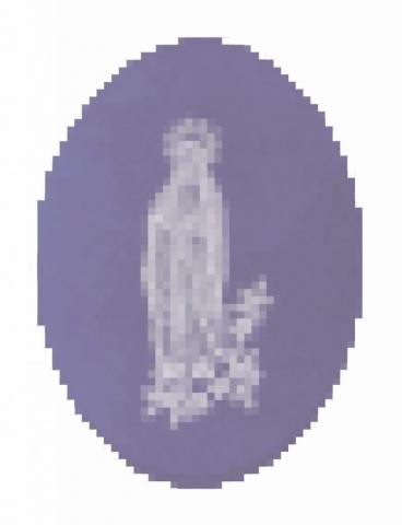 Michele Chiossi La Marie de Lesage, 2005 smalti, poliestere A4 zigzag pixel quadro dipinto pittura Vergine Madonna devozione preghiera