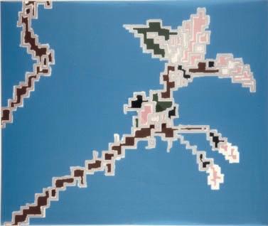Michele Chiossi LES FLEURS DU SAKE', 2001 disegno su poliestere e smalti d'argento disegno dipinto zigzag Giappone