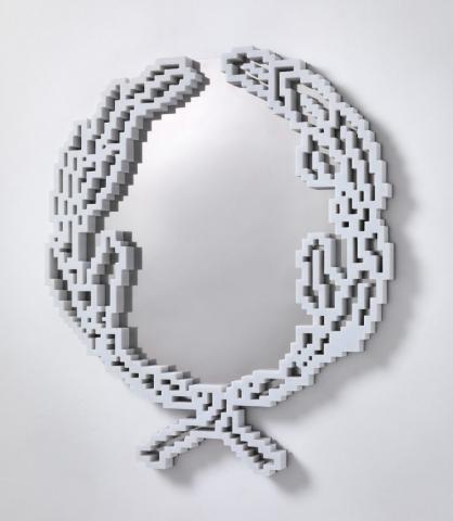 Michele Chiossi Neon-Classic Emblema, 2011  marmo statuario, acciaio scultura specchio riflessione zigzag quercia olivo Repubblica italiana