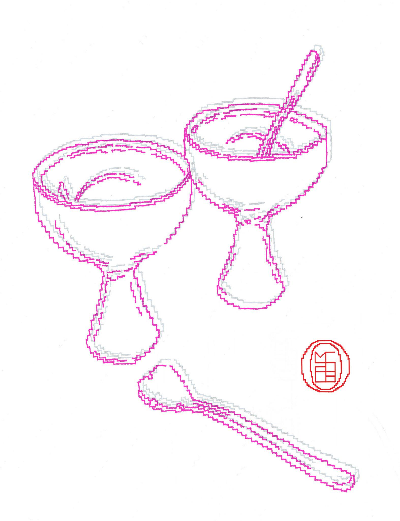Michele Chiossi You & me, 2003 smalti, poliestere A4 disegno zigzag dipinto gelato Alessi Natura Morta coppe cucchiaino cuore