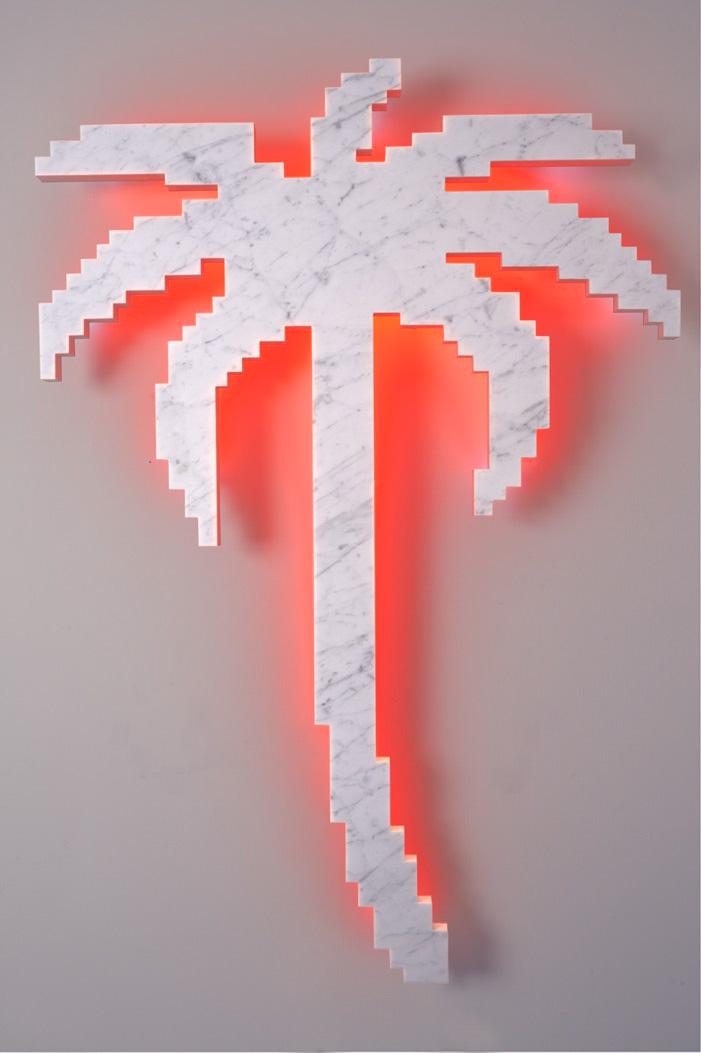 Michele Chiossi On Every Sunday, 2012  marmo statuario, acciaio e neon  palma scultura sole zigzag tropicalismo retroilluminazione