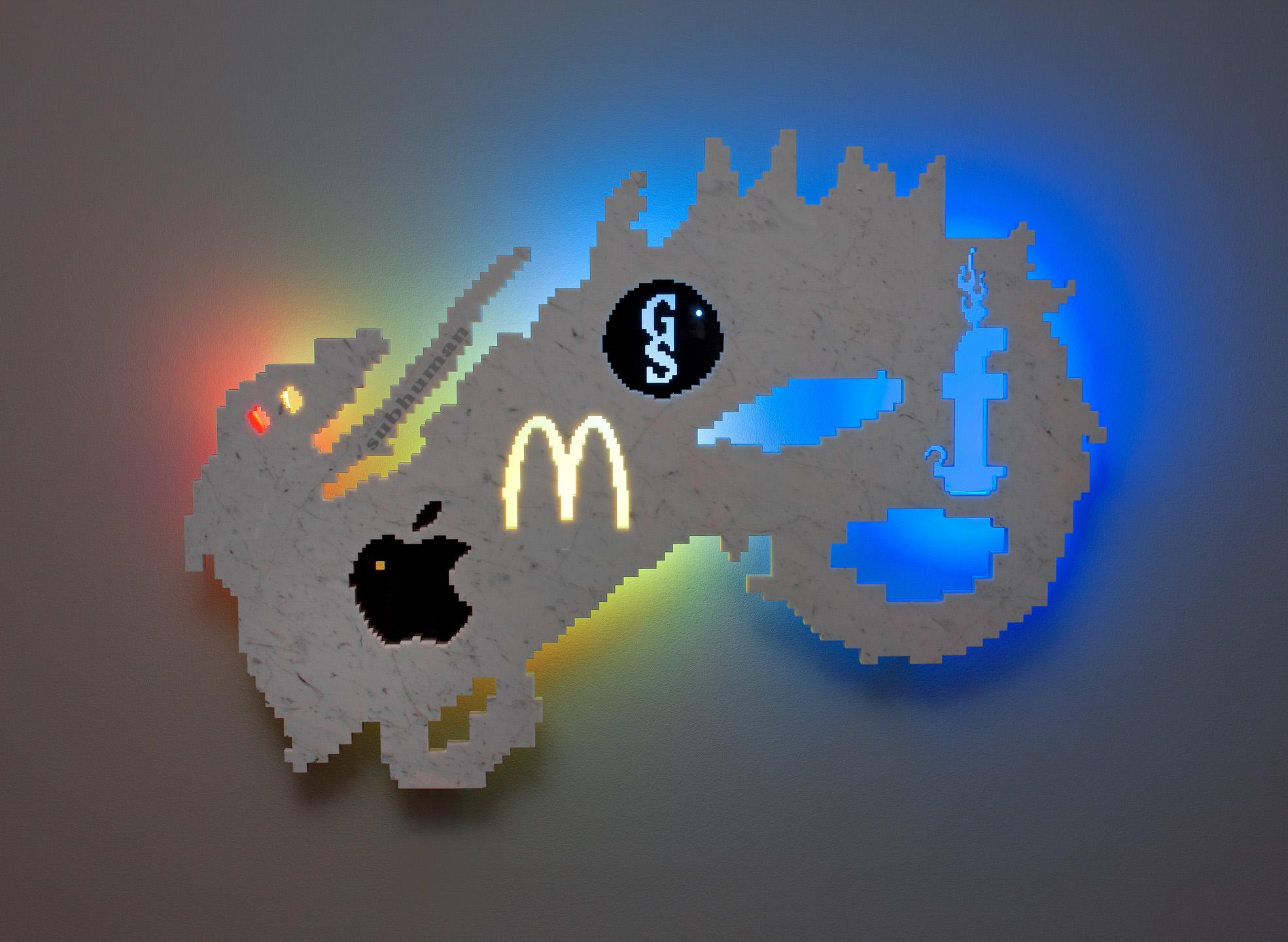 Michele Chiossi The Leviathan's Age, 2013  marmo statuario, acciaio, neon Leviatano allegoria Mac Donald Apple Google Goldman Sachs fb Facebook zigzag scultura retroilluminazione