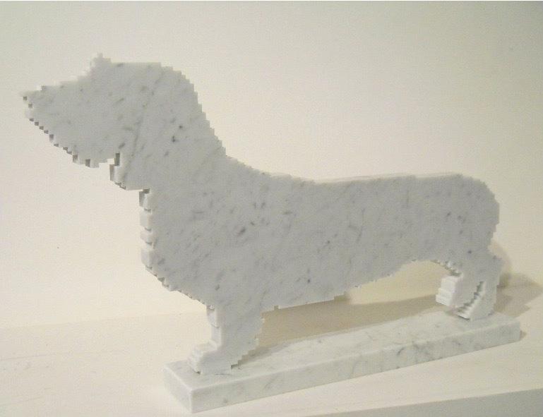 Michele Chiossi Susina, 2010 marmo statuario scultura Bassotto zigzag