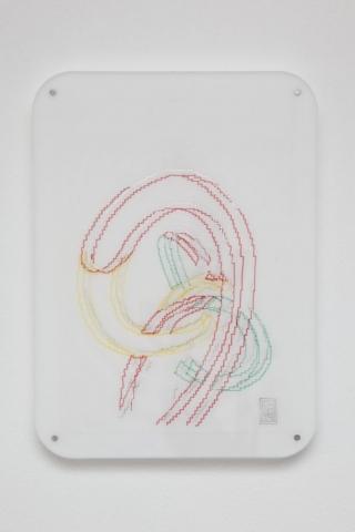 Michele Chiossi Ago, Filo e Nodo, 2014   pennarelli e pigmento d'argento su carta da lucido, plexiglas, magneti    23x33 cm disegno Oldenburg Milano zigzag #itsmilanobaby