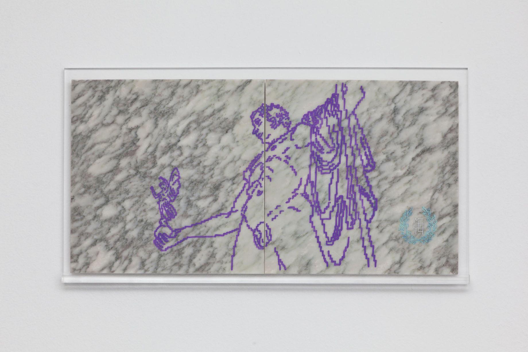Michele Chiossi Brera, 2014  pennarello Uniposca, marmo  20x40x1 cm Napoleone accadevi di Belle Arti Milano disegno zigzag