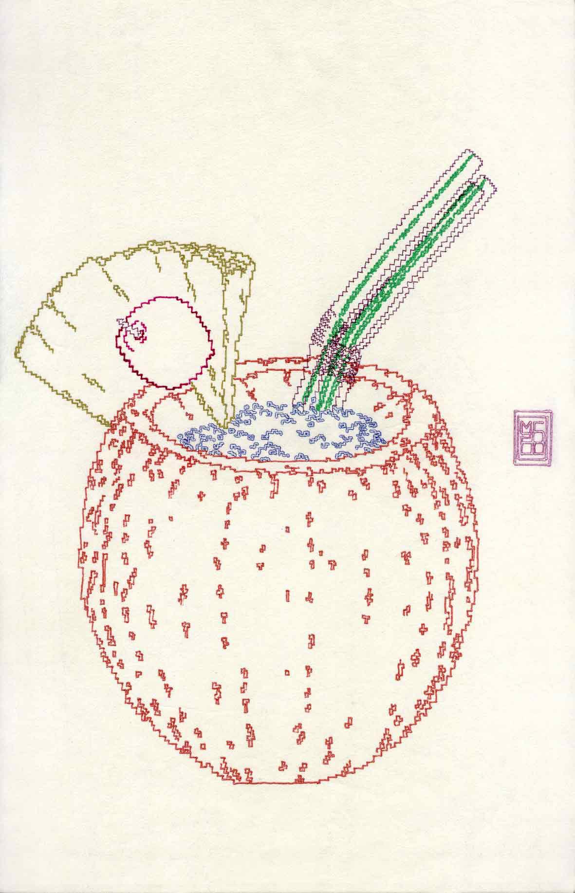 Michele Chiossi Exotica, 2000 pennarelli, carta giapponese pigmento d'argento, penna biro A4 disegno zigzag cocktail cocco cannuccia tiki Hawai