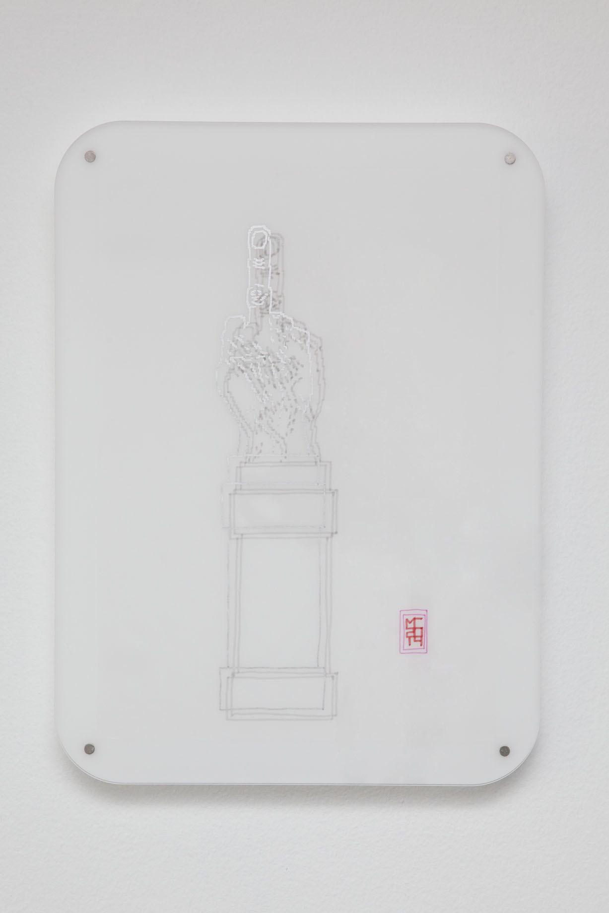Michele Chiossi LOVE Like, 2014 plexiglas, magneti  pennarelli e pigmento d'argento su carta da lucido Maurizio Cattelan Piazza Affari Milano scultura disegno zigzag #itsmilanobaby
