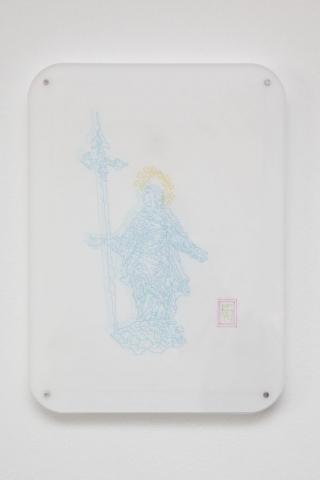 Michele Chiossi Oh mia bela Madunina, 2014   plexiglas, magneti pennarelli, pigmento d'oro su carta da lucido disegno Madonnina Milano #itsmilanobaby zigzag