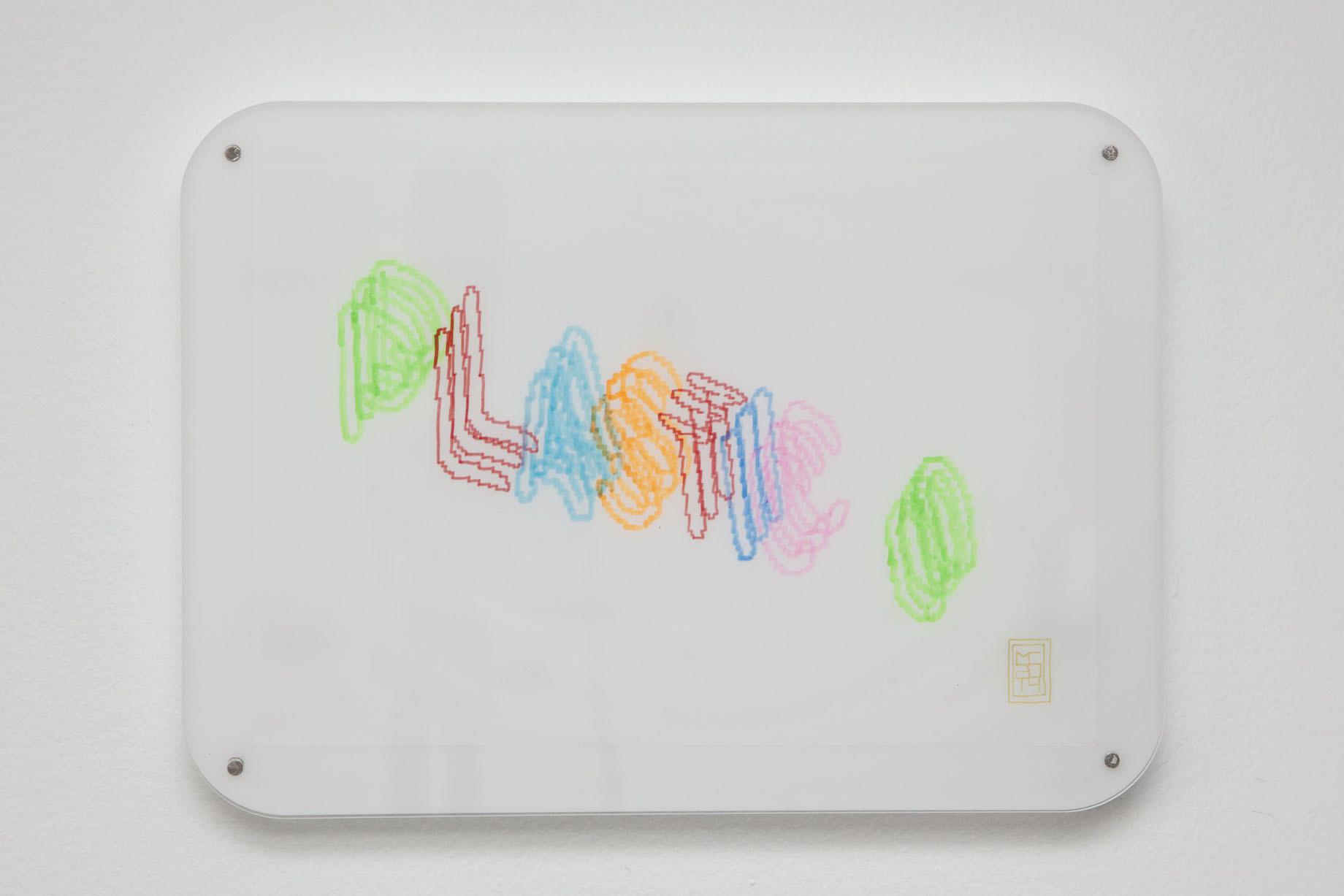 Michele Chiossi This is Plastic, 2014   plexiglas, magneti pennarelli, evidenziatore su carta da lucido disegno zigzag Plastic discoteca Milano #itsmilanobaby neon