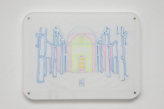 Michele Chiossi Untitled, 2014   evidenziatori, plexiglas, magneti pennarelli e pigmento d'argento su carta da lucido Dan Flavin Chiesa Rossa Milano zigzag