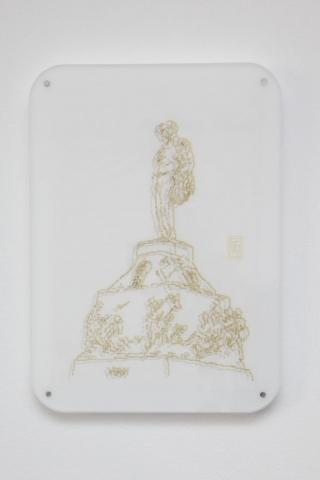Michele Chiossi W VERDI, 2014   pennarelli su carta da lucido plexiglas, magneti  disegno zigzag Giuseppe Verdi statuaria Milano #itsmilanobaby