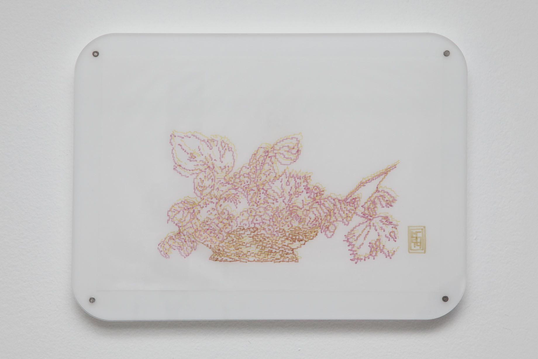 Michele Chiossi Ambrosiana, 2014   plexiglas, magneti pennarelli e pigmento d'oro su carta da lucido disegno zigzag Caravaggio Milano itsmilanobaby Natura Morta