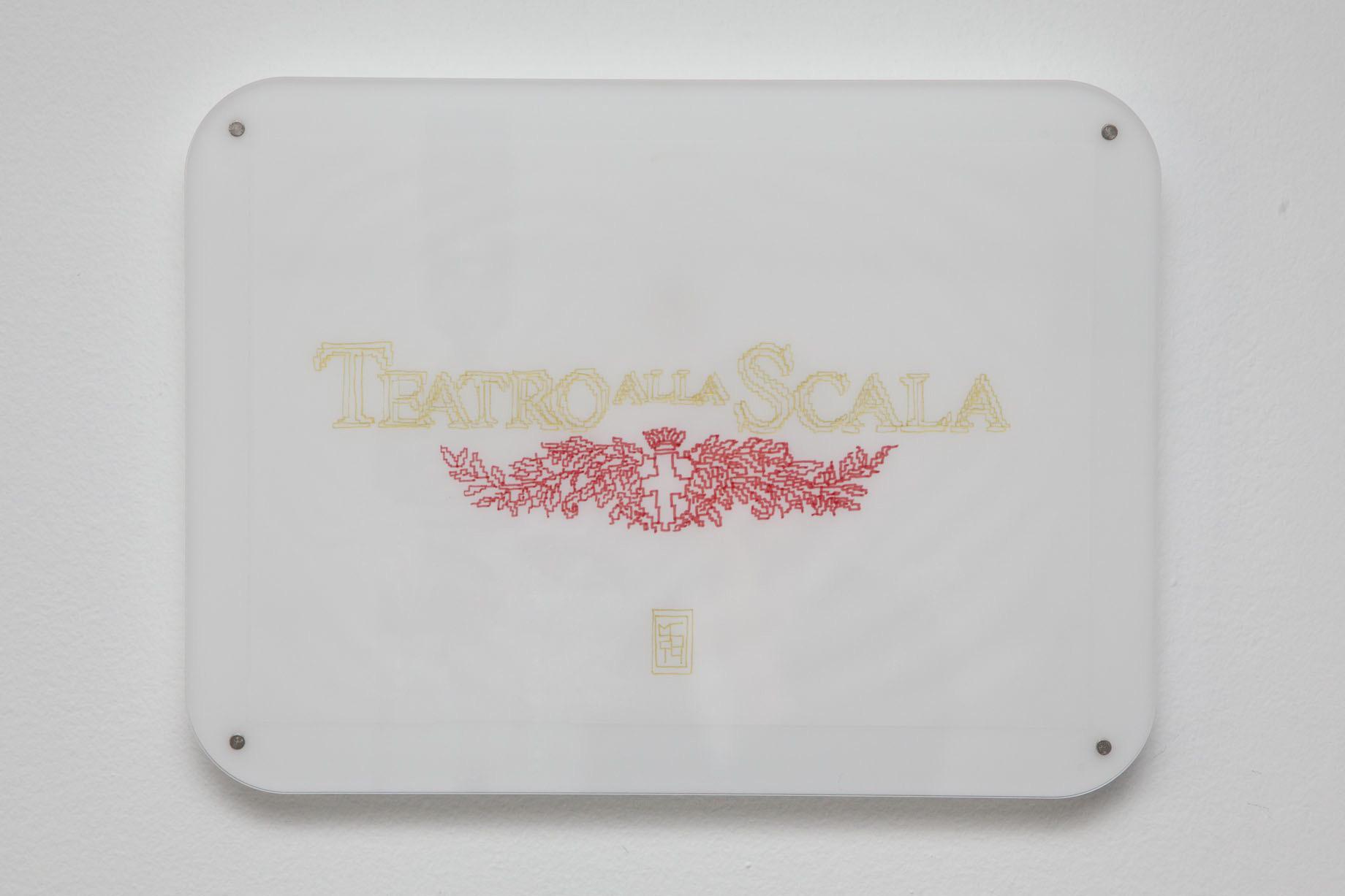 Michele Chiossi La Scala Like, 2014  pennarelli e pigmento d'oro su carta da lucido plexiglas, magneti   Teatro La Scala disegno zigzag itsmilanobaby Milano
