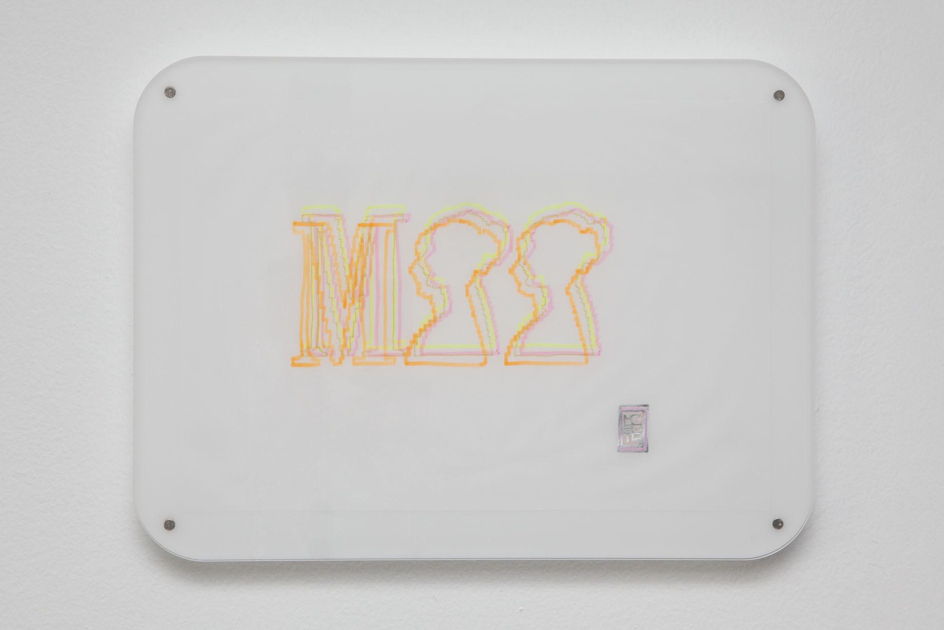 Michele Chiossi MPP Like, 2014   evidenziatori su carta da lucido plexiglas, magneti disegno zigzag Museo Poldi Pezzoli Milano itsmilanobaby