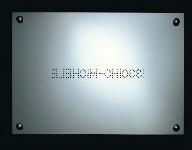Michele Chiossi Autoritratto, 2000 incisione su ottone cromato targa Parmigianino Parmigiano Reggiano riflessione specchio marchiatura d'origine dot punto