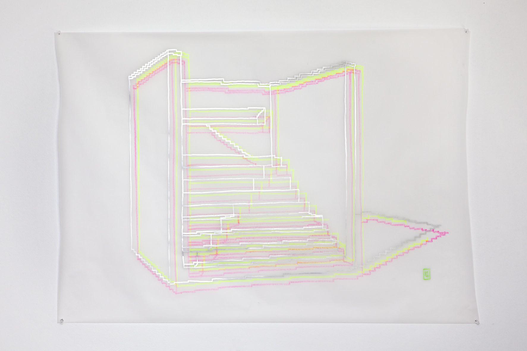 Michele Chiossi Per i gelsi lombardi, 201,  evidenziatori e pigmento d'argento su carta da lucido,   90x130 cm Pertini Milano disegno zigzag