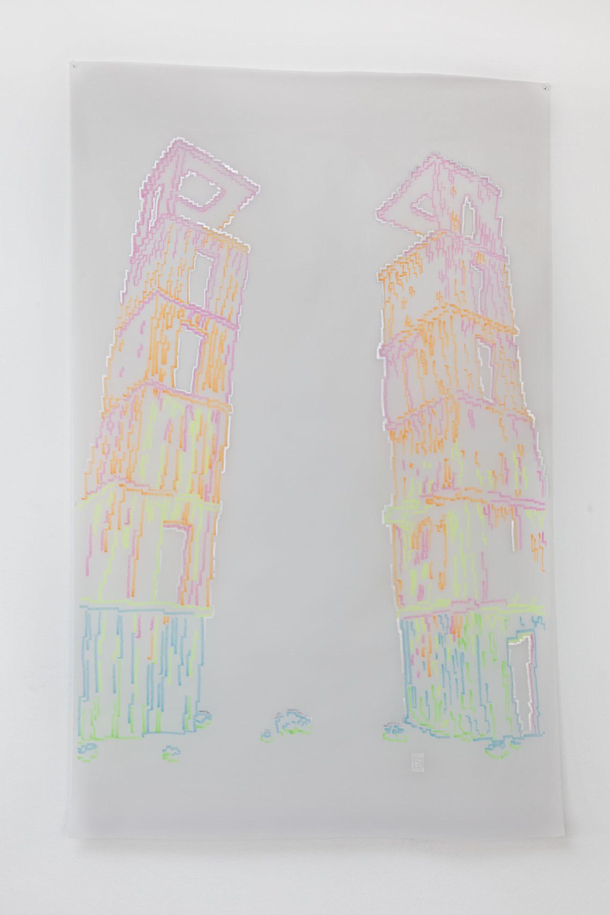 Michele Chiossi Estetico diffuso, 2014   evidenziatori e pigmento d'argento su carta da lucido   130x90 cm  disegno Anselm Kiefer Hangar Bicocca Milano zigzag