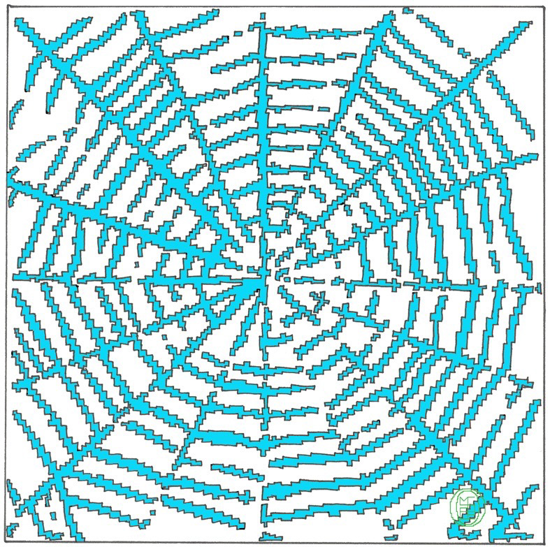 Michele Chiossi WEB, 2005  smalti su poliestere  ragnatela Vanitas zigzag disegno dipinto