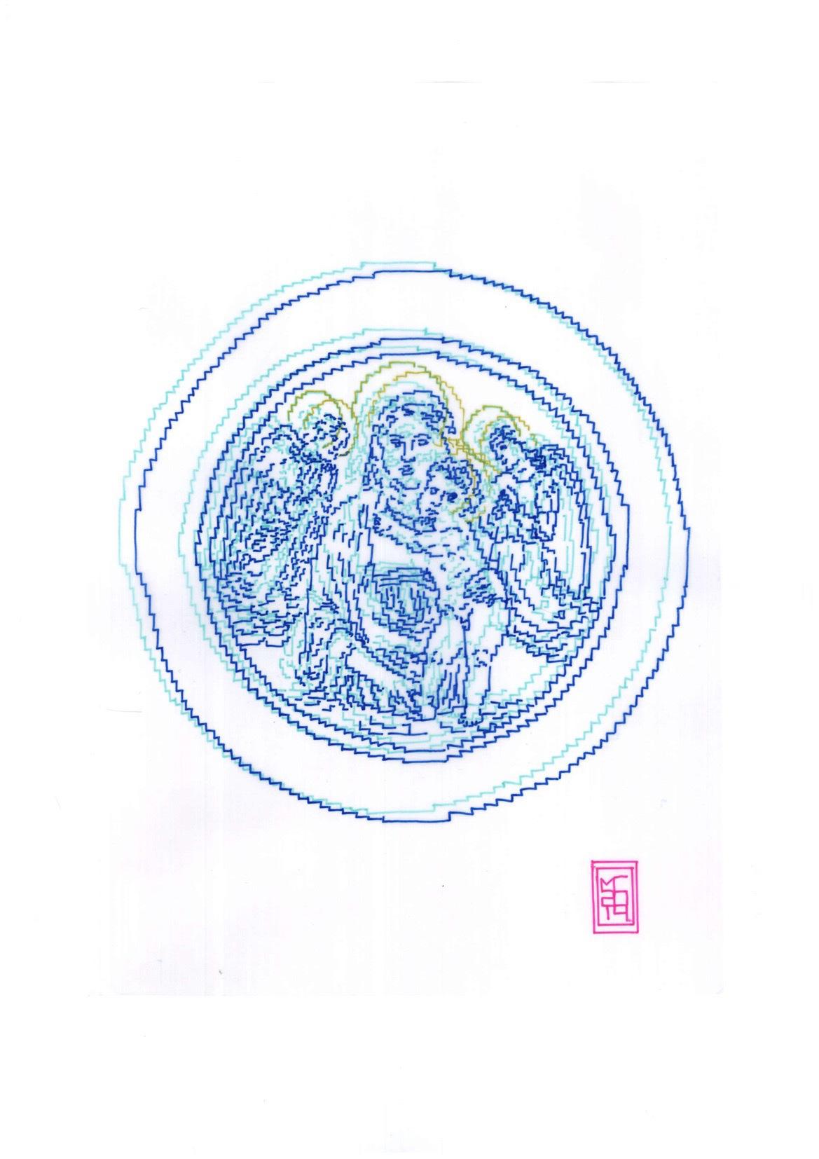 Michele Chiossi Della Robbia, 2014   pennarelli, carta da lucido,   A4 disegno zigzag Firenze