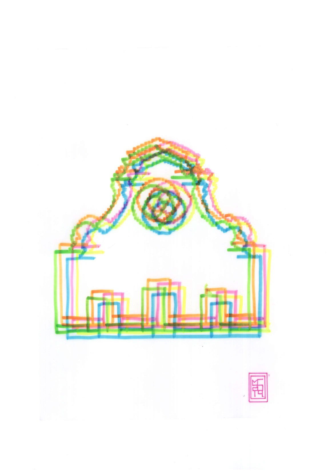 Michele Chiossi Santa Maria Novella, 2014, pennarelli su carta da lucido, A4 disegno zigzag Firenze