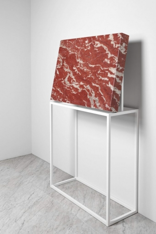 Michele Chiossi SUBABSTRACTION (red), 2017 marmo Rouge Francia Languedoc, pizzo, resina 100x70x10 cm astrazione zigzag quadro