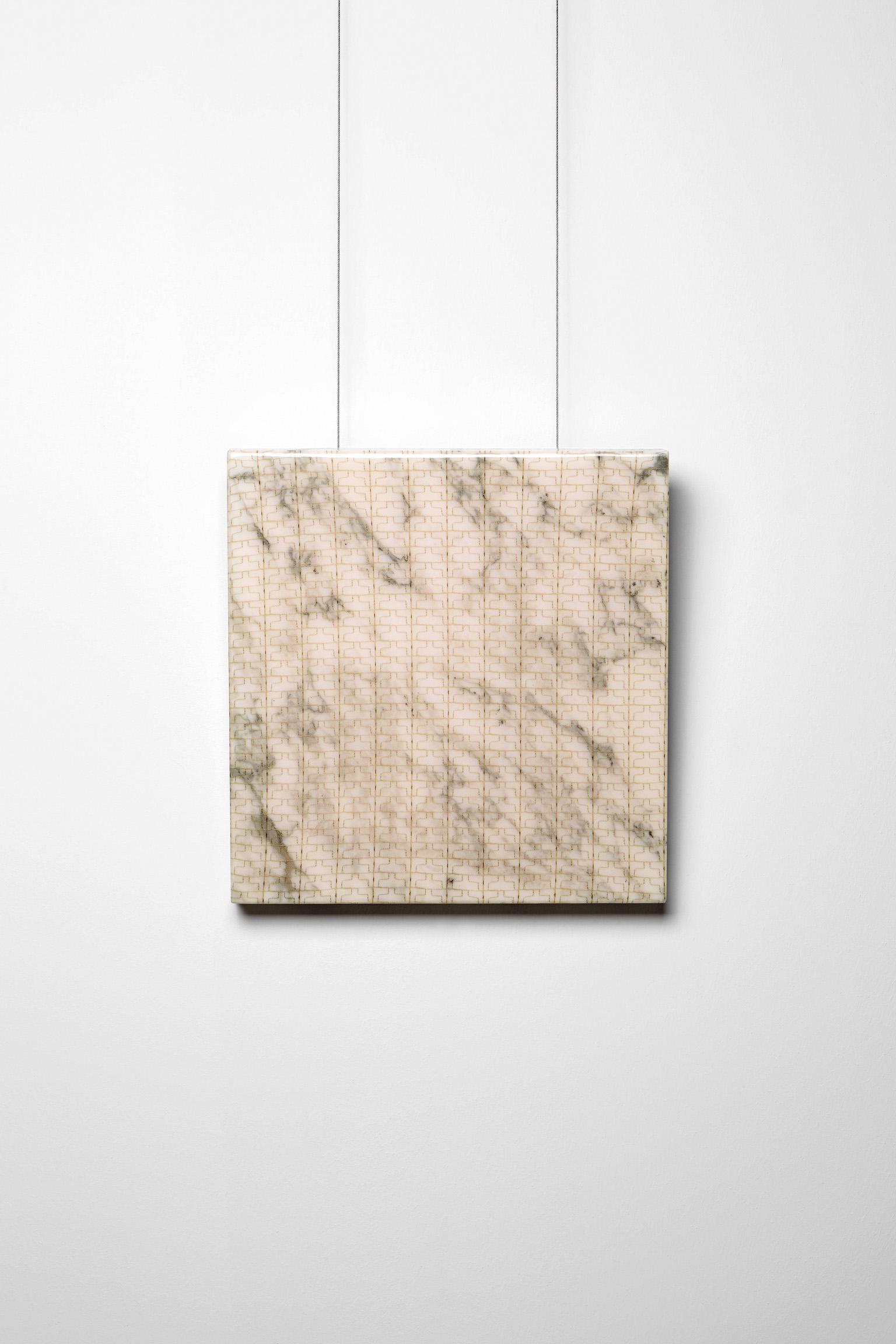Michele Chiossi SUBABSTRACTION (sage), 2016  marmo Arabescato, pizzo, resina 40x40x4 cm astrazione zigzag quadro