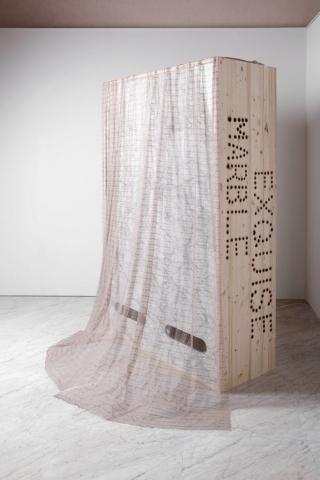 Michele Chiossi Marble Exquise, (cabinet), 2017 marmo Breccia Capraia, legno, legno brûlée  acciaio, ventilatori, pizzo 220x140x60 cm cadavere exquise brezza nuvole Apuane
