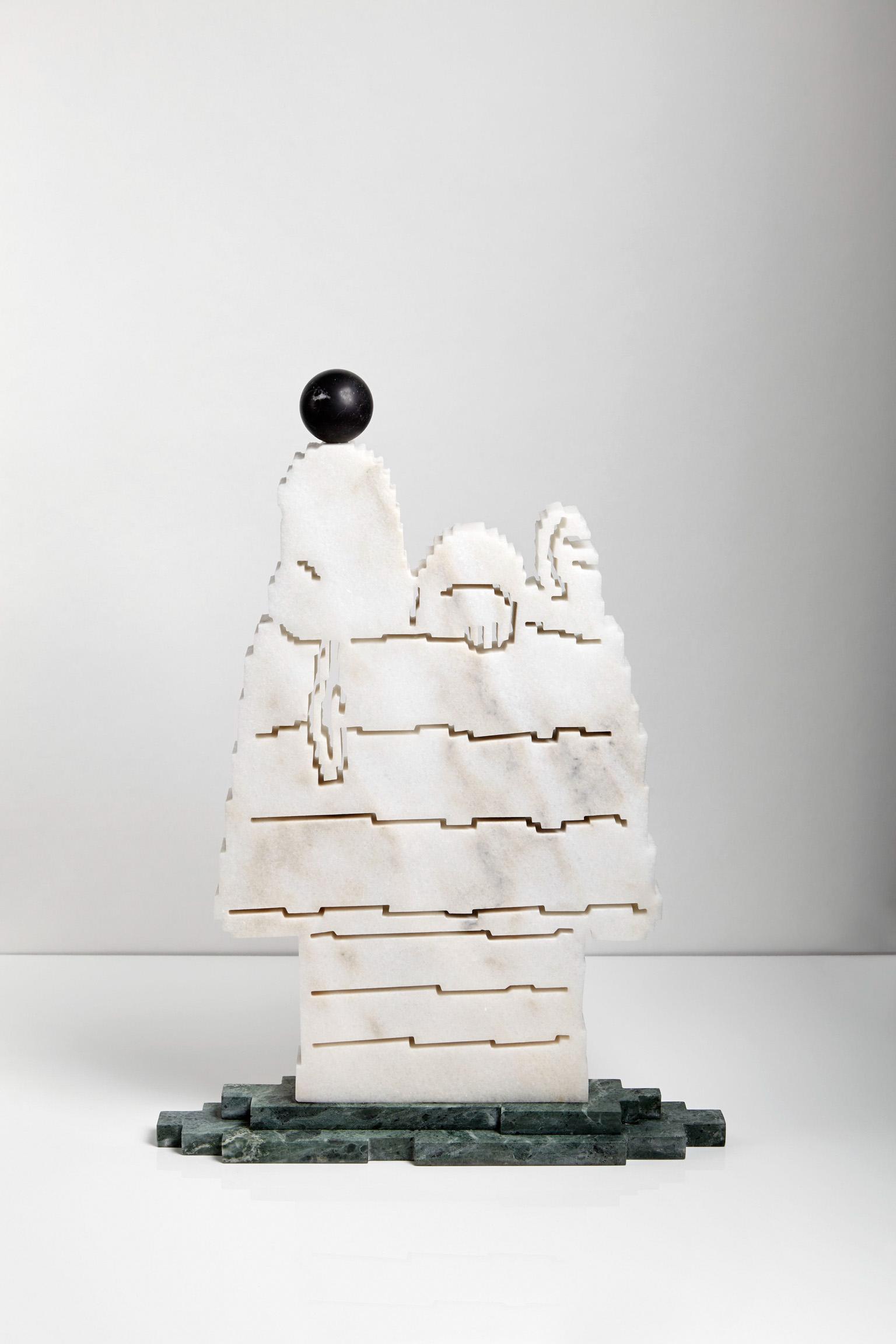 FORGET IT/LASCIA PERDERE, 2018 marmo statuario, verde Guatemala, nero Belgio 60x50x10 cm Snoopy scultura zigzag