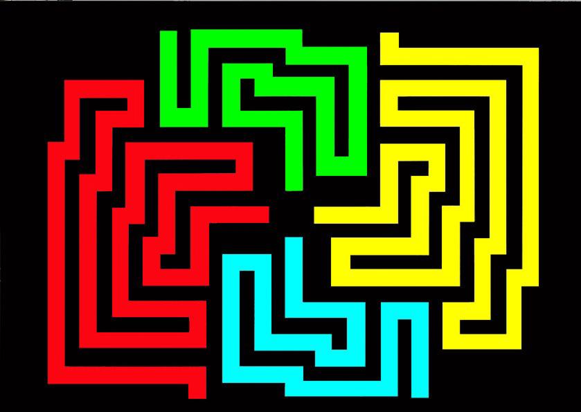 Michele Chiossi W.T.O. #1, 2002   smalti, poliestere mappe percorsi pattern dipinto quadro colori primari videogame zigzag pixel arte contemporanea labirinto maze ornamento astrazione