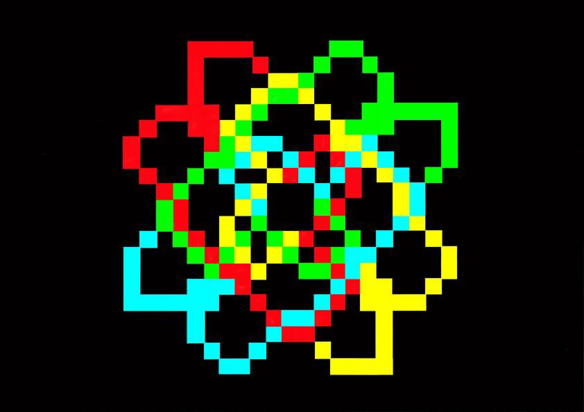 Michele Chiossi W.T.O. #1, 2002   smalti, poliestere mappe percorsi pattern dipinto quadro colori primari videogame zigzag pixel arte contemporanea astrazione ornamento