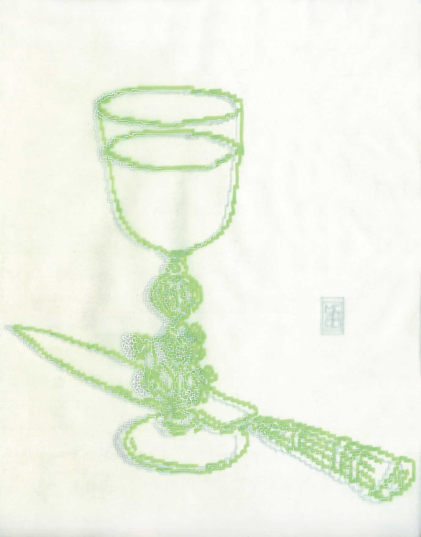 Michele Chiossi Fée Verte, 2000 evidenziatore, pigmenti d'argento, carta da lucido disegno zigzag pixel videogame calice Natura Morta coltello assenzio ebrezza sfuocato fuzzy