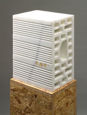 Michele Chiossi EAT TM, 2004 marmo bianco statuario, foglia d'oro scultura mattone cibo food