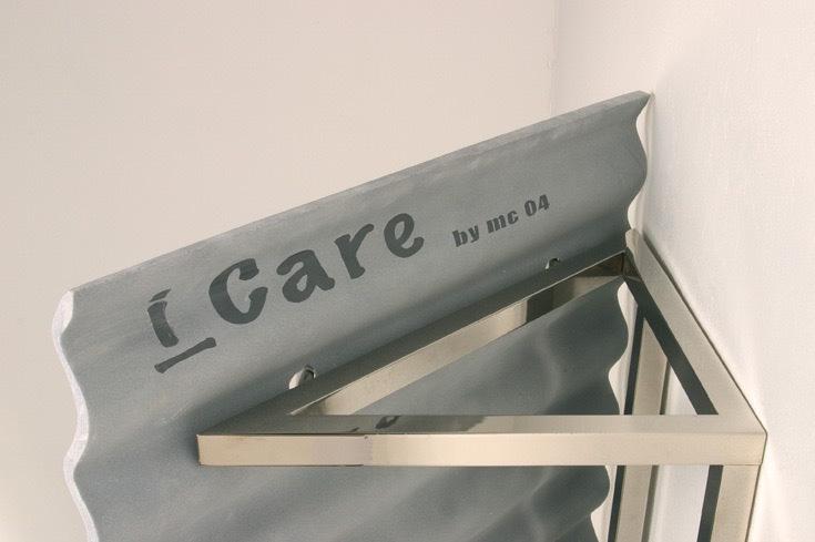 Michele Chiossi i-Care, 2004 Bardiglio imperiale, ottone nichelato pensilina protezione scultura architettura marmo Eternit ricovero riparo ondulina