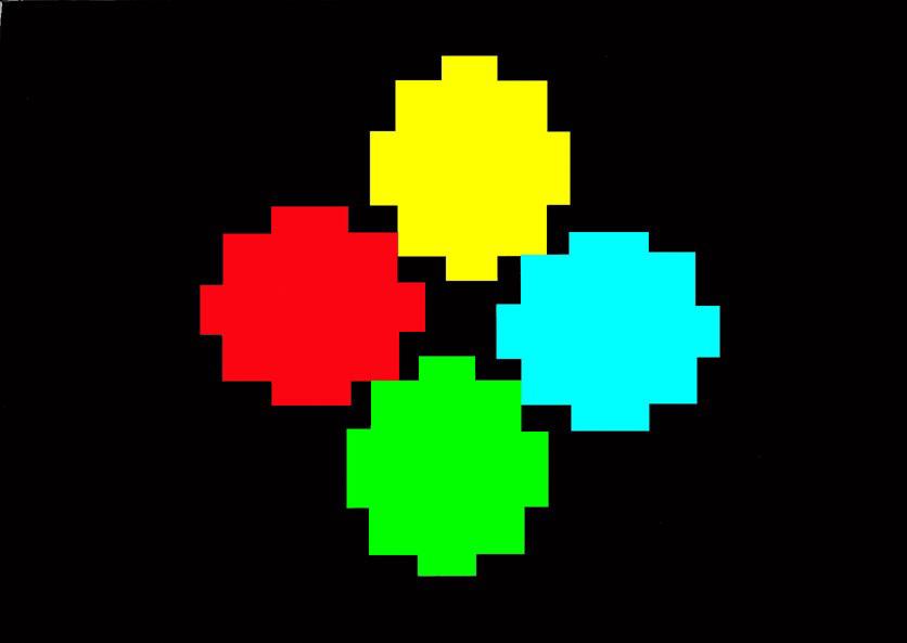 Michele Chiossi W.T.O. #1, 2002   smalti, poliestere mappe percorsi pattern dipinto quadro colori primari videogame zigzag pixel arte contemporanea ornamento astrazione dot punto