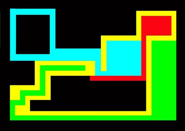 Michele Chiossi W.T.O. #1, 2002   smalti, poliestere mappe percorsi pattern dipinto quadro colori primari videogame zigzag pixel arte contemporanea