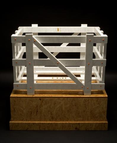 Michele Chiossi La Cage Aux Folles, 2005 marmo bianco statuario, acciaio verniciato, foglia d'oro cassa trasporto scultura arancio Hermes punti cardinali dettagli