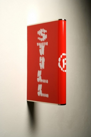 Michele Chiossi STILL LIVE'S, 2005  PVC adesivo su ottone nikelato scultura post production Levi's logo sticker